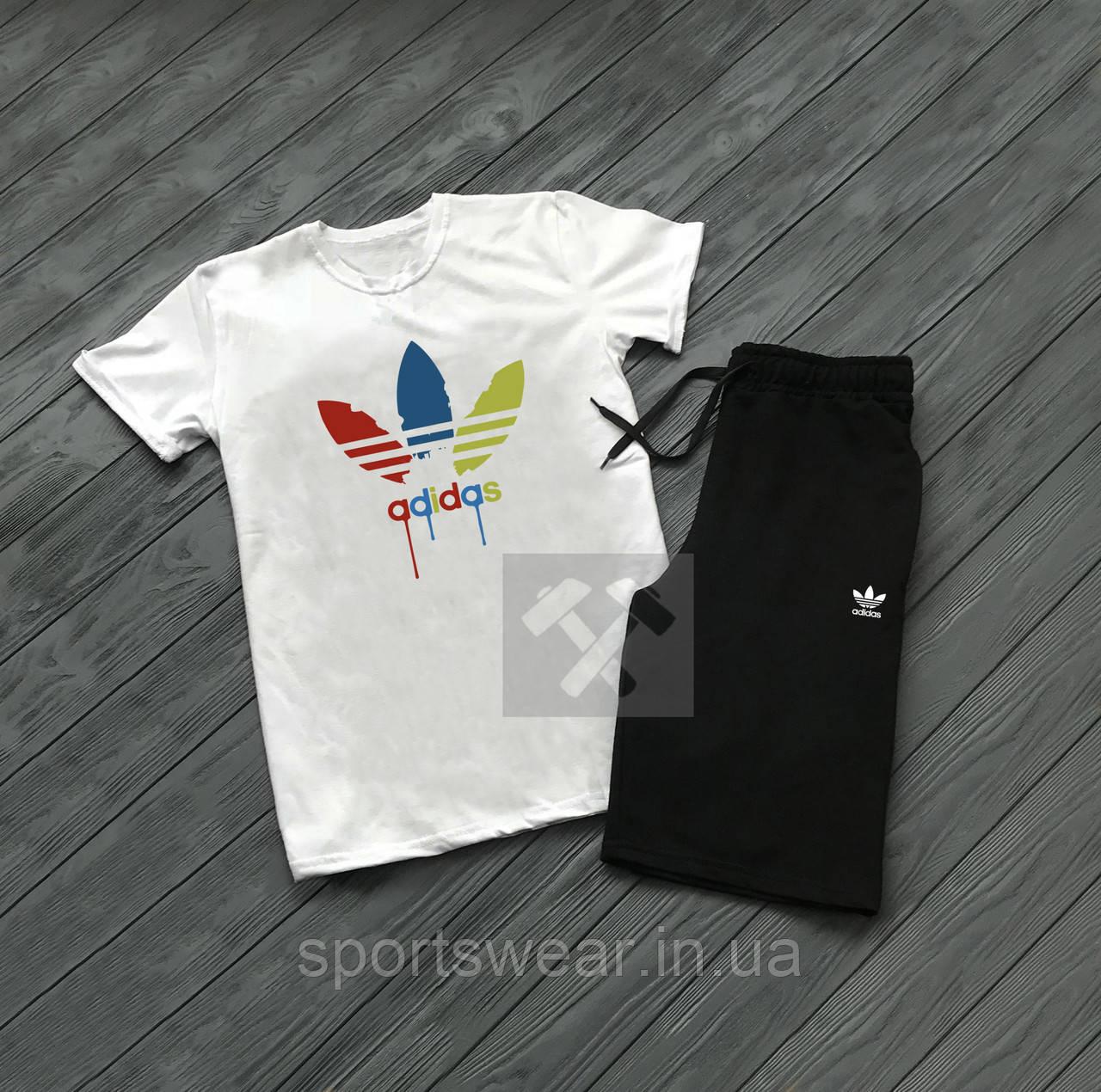 """Мужской комплект футболка + шорты Adidas серого и черного цвета """""""" В стиле Adidas """""""""""