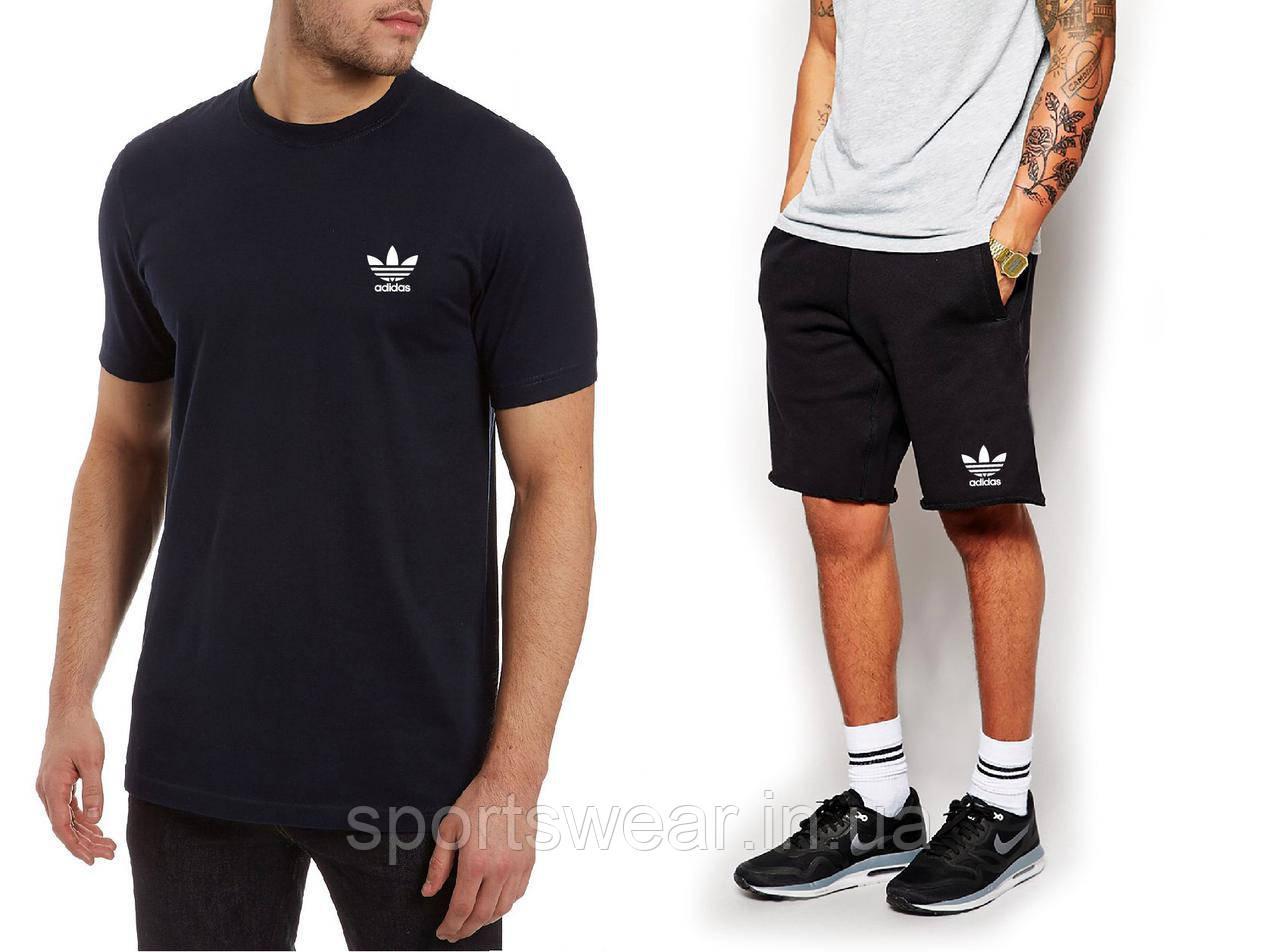 """Мужской комплект футболка + шорты Adidas черного цвета """""""" В стиле Adidas """""""""""
