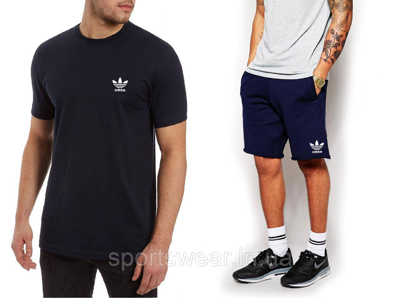 """Мужской комплект футболка + шорты Adidas синего и черного цвета """""""" В стиле Adidas """""""""""