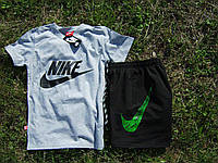"""Мужской комплект футболка + шорты Nike серого и черного цвета """""""" В стиле Nike """""""""""