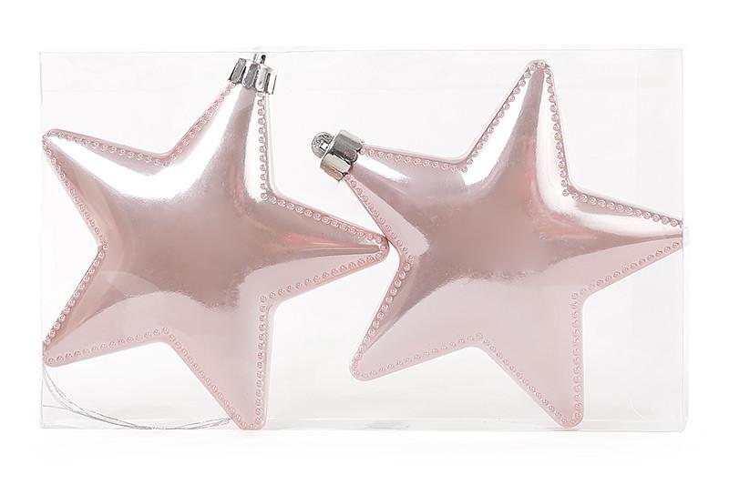 Набор елочных украшений Звезды 11.5см, цвет - розовый, 2 шт: перламутр 147-209