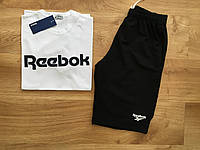 """Мужской комплект футболка + шорты Reebok белого и черного цвета """""""" В стиле Reebok """""""""""