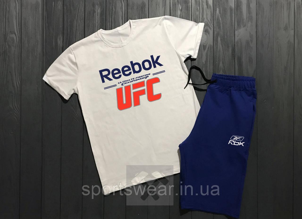 """Мужской комплект футболка + шорты Reebok белого и синего цвета """""""" В стиле Reebok """""""""""