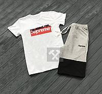 """Мужской комплект футболка + шорты supreme серого и черного цвета """""""" В стиле Supreme """""""""""