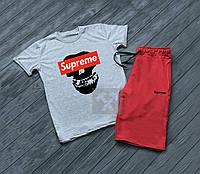 """Мужской комплект футболка + шорты supreme красного и серого цвета """""""" В стиле Supreme """""""""""