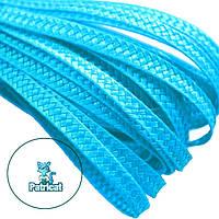 Тесьма плетеная соломка Голубая 6 мм 10 м/уп, фото 1
