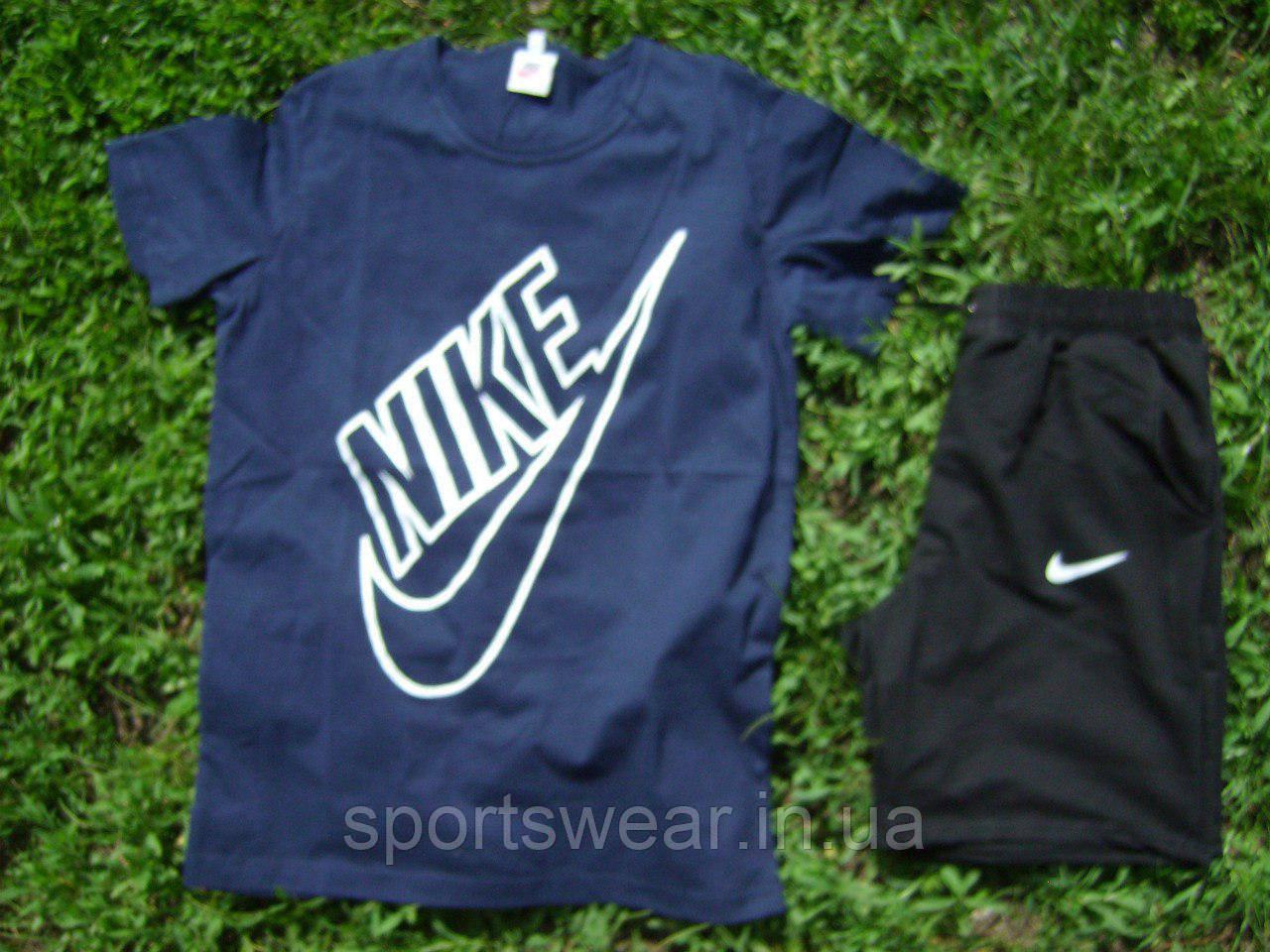 """Мужской комплект футболка + шорты Nike синего и черного цвета """""""" В стиле Nike """""""""""