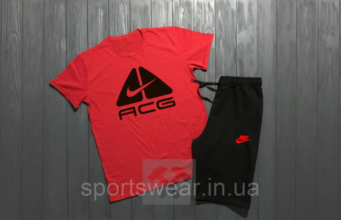 """Мужской комплект футболка + шорты Nike красного и черного цвета """""""" В стиле Nike """""""""""