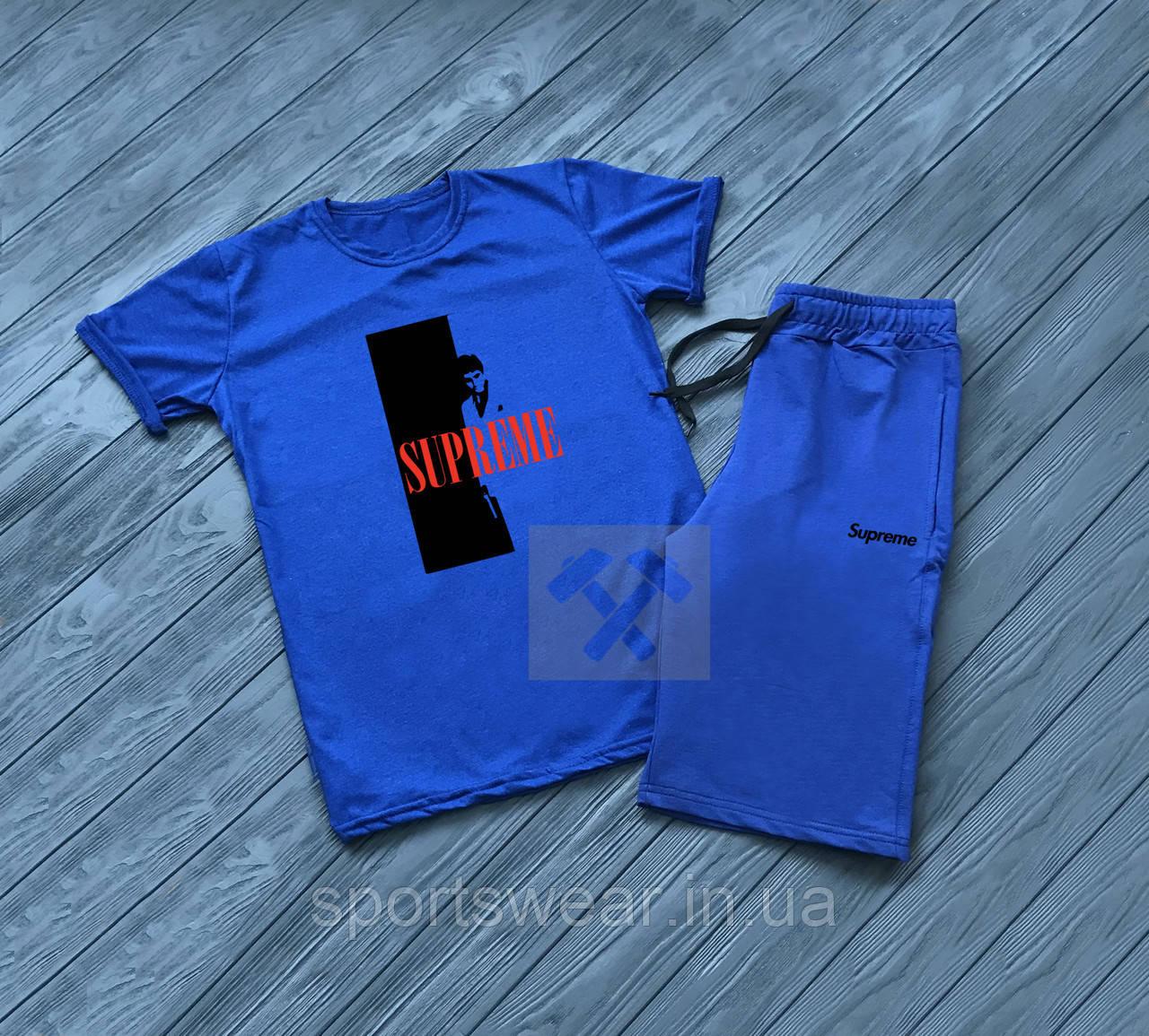 """Мужской комплект футболка + шорты supreme синего цвета """""""" В стиле Supreme """""""""""