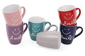 Кружка керамическая 350мл Smile, 6 цветов микс 593-247, фото 2