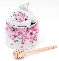 Медовница фарфоровая 12.5см с деревянной палочкой Яблоневый цвет XX949-P