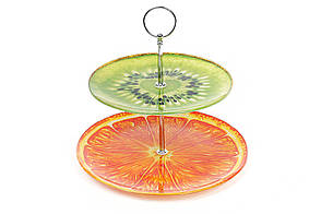 Фруктовниця скляна (2 рівня) Ківі-Апельсин 809-202