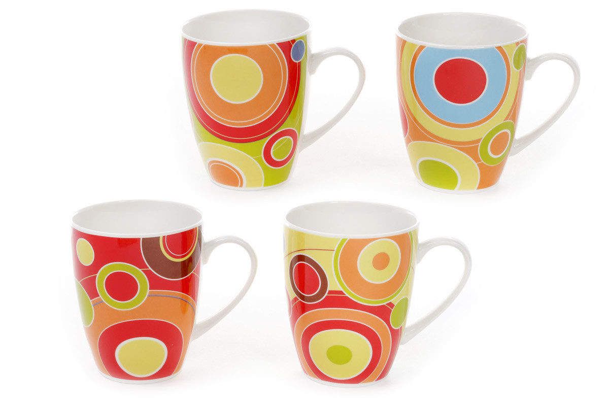 Кружка фарфоровая Цветные круги, 4 вида 577-507
