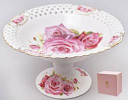 Блюдо для фруктів і цукерок порцелянове на підставці Троянди 30см 222-175