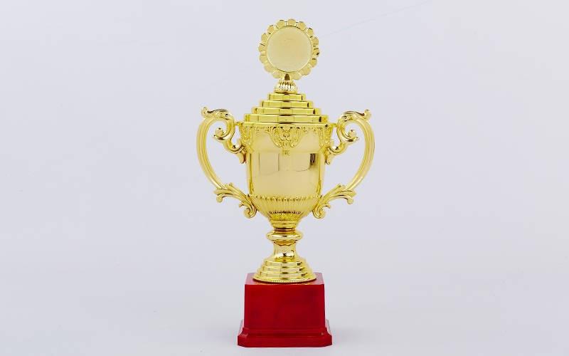 Кубок спортивный с ручками, крышкой и местом под жетон h-30м C-896-3B (h-30м, d чаши-11см, золото)