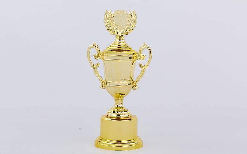 Кубок спортивный с ручками, крышкой и местом под жетон LIBERTY C-894-2A (h-32см, d чаши-7см, золото)