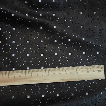 Искусственная стрейч кожа перфорированная черная, фото 2