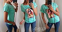 Женская футболка с люверсами, бусинами и апликацией, трикотаж лакосте, 42-46, 48-52, 54-58, фото 1