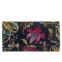 Кошелек Desisan 057-415 кожаный темно-синий с цветочным принтом