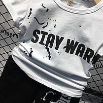 Летний костюм для мальчика белая футболка и черные шорты, фото 2