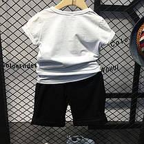 Летний костюм для мальчика белая футболка и черные шорты, фото 3