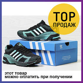Женские кроссовки Adidas Marathon Flyknit, черные с мятой / кроссовки женские Адидас Флайнит, сетка, удобные