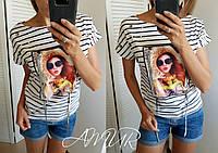 Женская футболка с люверсами, бусинами и апликацией, полосатая, вискоза, 42-46, 48-52, 54-58, фото 1