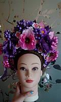 """Кокошник на голову """"Украинский необычный"""", розово-фиолетовый, фото 1"""