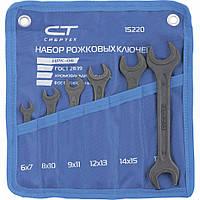 Набор рожковых ключей 6 -19 мм, 6 шт., CrV, фосфатированные, ГОСТ 2839 СИБРТЕХ 15220