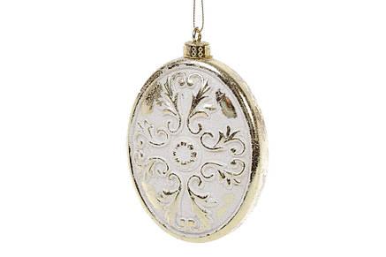Набор (2шт) елочных украшений 8см с рельефом, цвет - белый с золотом 182-847, фото 2