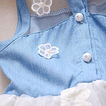 Летнее платье для девочки с джинсовым лифом и фатиновой юбкой, фото 2