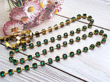 Ланцюжок зі стразами 0,35 см 50 см акрил зелені в золоті, фото 3