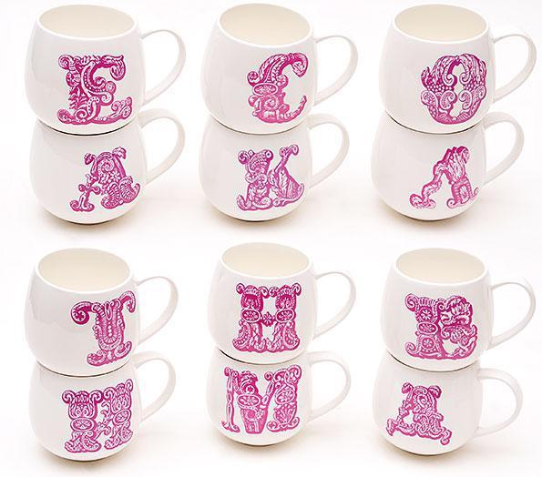 Кружка фарфоровая 425мл Первая буква имени, цвет - розовый, 12 видов 335-18