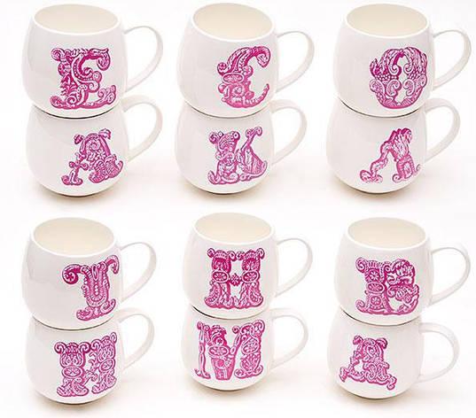 Кружка фарфоровая 425мл Первая буква имени, цвет - розовый, 12 видов 335-18, фото 2