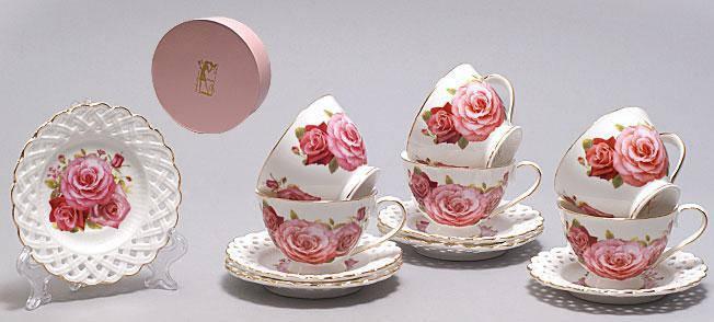 Кофейный набор на 6 персон (12 предметов) Розы, 90мл 222-154, фото 2