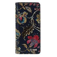 Кошелек Desisan 321-415 кожаный темно-синий с цветочным принтом
