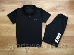 """Мужской комплект поло + шорты Nike черного цвета """""""" В стиле Nike """""""""""