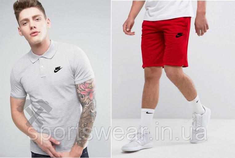 """Мужской комплект поло + шорты Nike серого и красного цвета """""""" В стиле Nike """""""""""