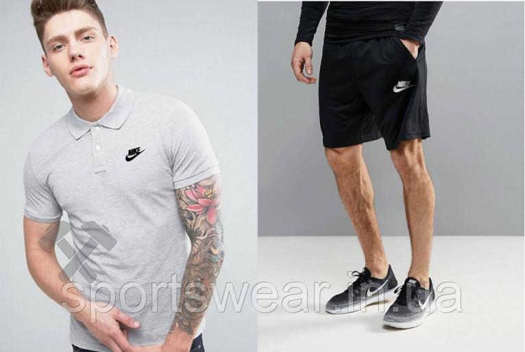 """Мужской комплект поло + шорты Nike серого и черного цвета """""""" В стиле Nike """""""""""
