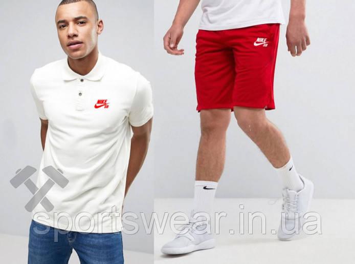 """Мужской комплект поло + шорты Nike белого и красного цвета """""""" В стиле Nike """""""""""