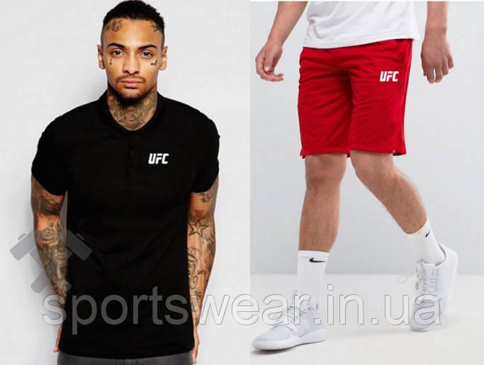 Мужской комплект поло + шорты UFC черного и красного цвета