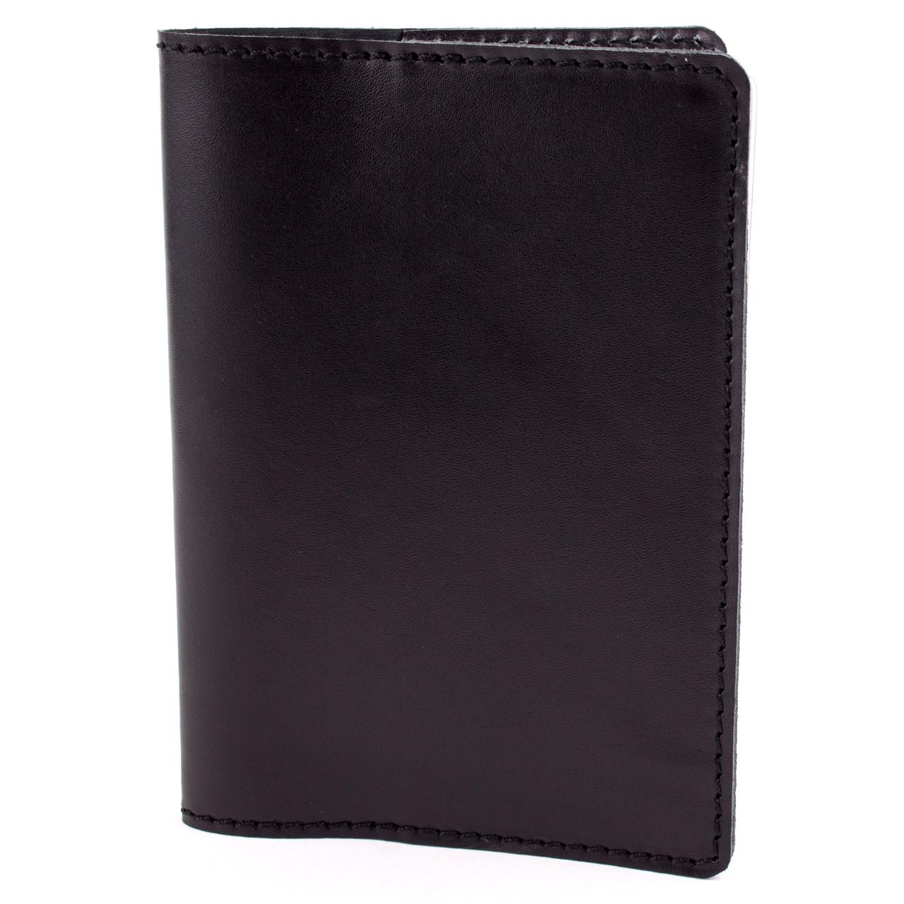 Обложка на паспорт кожаная Crez (черная гладкая)