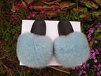 Женские шлепки с натуральным мехом чернобурка 36 / 41 размеры
