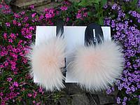 Женские шлепки с натуральным мехом песец и  чернобурка 36 / 41 размеры
