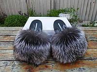 Женские шлепки с натуральным мехом чернобурка 36 / 41 размеры , фото 1
