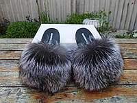 Жіночі шльопанці з натуральним хутром чорнобурка 36 / розміри 41, фото 1