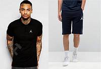 """Мужской комплект поло + шорты Jordan черного и синего цвета """""""" В стиле Jordan """""""""""