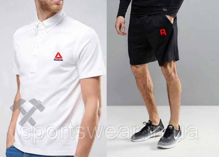 Мужской комплект поло + шорты Reebok белого и черного цвета