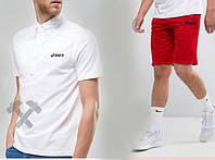 """Мужской комплект поло + шорты Asics белого и красного цвета """""""" В стиле ASICS """""""""""