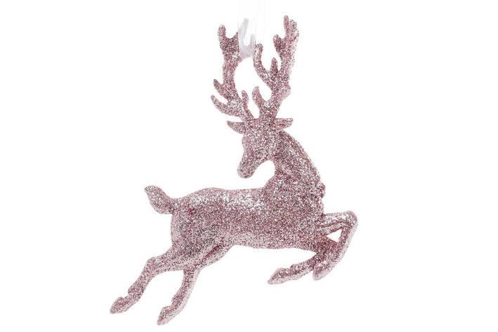 Елочное украшение Олень 13см, цвет - светло-розовый, пластик, в упаковке 45шт. (788-431), фото 2
